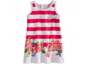 Dievčenské šaty bez rukávov KNOT SO BAD FLOWERS ružový pruh