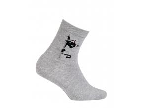 Dievčenské vzorované ponožky GATTA MAČIČKA šedé