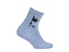 Dievčenské vzorované ponožky GATTA MAČIČKA modré