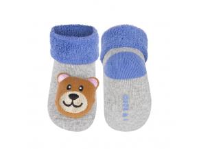 Dojčenské ponožky s hrkálkou SOXO MEDVEDÍK šedé