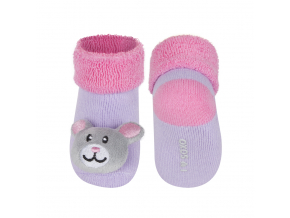 Dojčenské ponožky s hrkálkou SOXO MYŠKA fialové