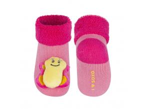 Dojčenské ponožky s hrkálkou SOXO MOTÝLIK ružové