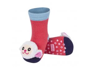Ponožky s hrkálkou SOXO OVEČKA červená