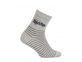 Chlapčenské vzorované ponožky WOLA AUTO šedé