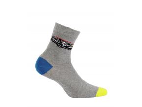 Chlapčenské ponožky so vzorom WOLA ŠPORTOVÉ AUTO šedé