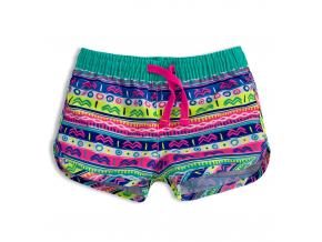 Dievčenské plážové šortky KNOT SO BAD ORNAMENT zelené