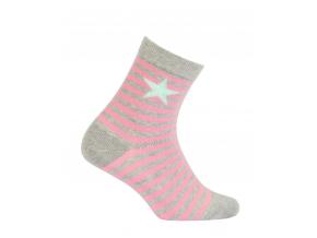 Dievčenské ponožky so vzorom WOLA HVIEZDA ružové