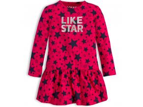 Dievčenské bavlnené šaty LOSAN LIKE STAR tmavo ružové