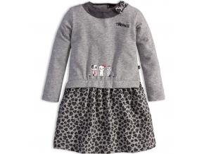 Dievčenské šaty s dlhým rukávom Mix´nMATCH MAČIČKY šedé