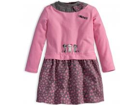 Dievčenské šaty s dlhým rukávom Mix´nMATCH MAČIČKY ružové