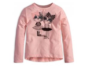 Dievčenské tričko s dlhým rukávom MixńMATCH MAČIČKY ružové