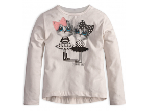 Dievčenské tričko s dlhým rukávom MixńMATCH MAČIČKY biele