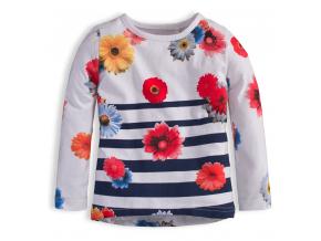 Dievčenské tričko KNOT SO BAD KVETY modrý prúžok