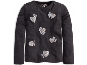 Dievčenské tričko s dlhým rukávom LOSAN SRDCE šedé