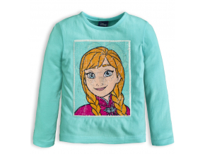 Dievčenské tričko flitre meniaci obrázok DISNEY FROZEN ANNA a ELSA modré