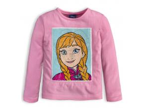 Dievčenské tričko flitre meniaci obrázok DISNEY FROZEN ANNA a ELSA ružové