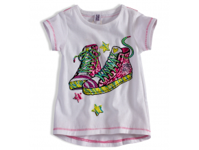Dievčenské tričko PEBBLESTONE TENISKY biele