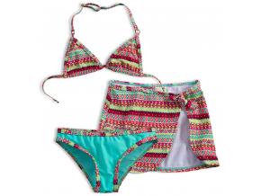 Dievčenské plavky KNOT SO BAD ETHNIC tyrkysové