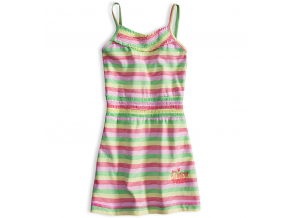 Dievčenské letné šaty PEBBLESTONE SUMMER ružové prúžky