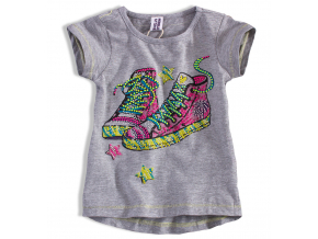 Dievčenské tričko PEBBLESTONE TENISKY šedé