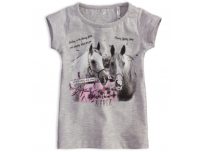 Dievčenské tričko KNOT SO BAD HORSES šedé