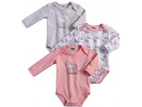 Dojčenské body 3 kusy JACKY  JEDNOROŽEC ružové