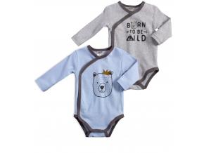 Dojčenské zavinovacie body 2 kusy JACKY  MEDVEDÍK modré