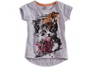 Dievčenské tričko PEBBLESTONE MAČIČKA šedé
