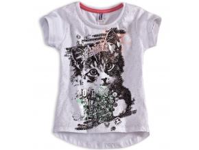 Dievčenské tričko PEBBLESTONE MAČIČKA biele