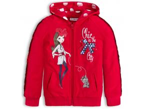 Dievčenská mikina s flitrami CHIC červená