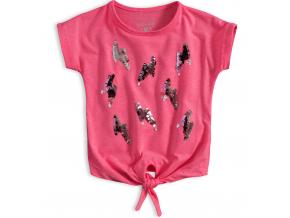 Dievčenské tričko s flitrami KNOT SO BAD LIGHTNING ružové