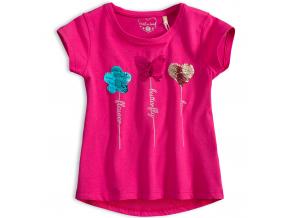 Dievčenské tričko s preklápacími flitrami KNOT SO BAD MOTÝĽ ružové