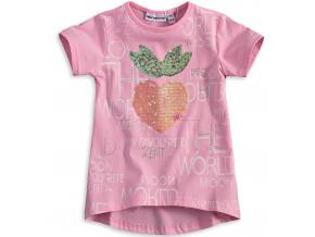 Dievčenské tričko s flitrami Mix´nMATCH JAHODA svetlo ružové