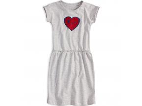 Dievčenské šaty s preklápacími flitrami KNOT SO BAD SRDCE šedý melír