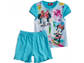 Dievčenské letné pyžamo Disney MINNIE SELFIE tyrkysové