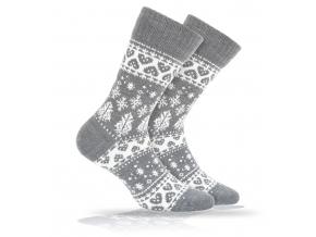Vlnené ponožky WOLA SRDIEČKA šedé
