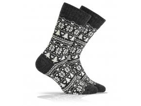 Vlnené ponožky WOLA NÓRSKY VZOR čierne