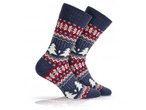 Vlnené ponožky WOLA NÓRSKY VZOR modré