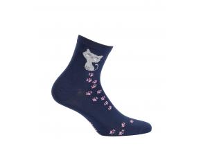 Vzorované dámske ponožky GATTA MAČIČKA modré