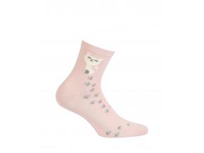 Vzorované dámske ponožky GATTA MAČIČKA ružové