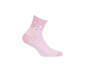 Dámske ponožky so vzorom GATTA ZAJAČIK ružové prúžky