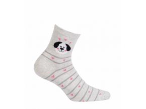 Dámske ponožky so vzorom GATTA PSÍK šedý melír