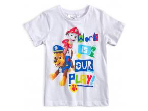 Chlapčenské tričko PAW PATROL WORK IS PLAY biele