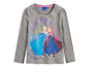 Dievčenské tričko DISNEY FROZEN SPIRALLING SNOW šedé