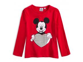 Dievčenské tričko s preklápacími flitrami DISNEY MINNIE SRDCE červené