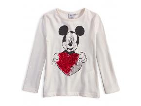 Dievčenské tričko s preklápacími flitrami DISNEY MINNIE SRDCE biele