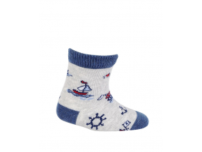 Vzorované dojčenské ponožky LOĎKY šedé