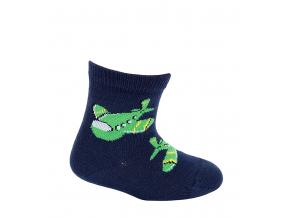 Dojčenské vzorované ponožky WOLA LIETADLA tmavo modré