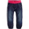 Dievčenské zateplené džínsy Dirkje s ružovým patentom na páse
