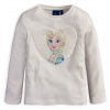 Dievčenské tričko s preklápacími flitrami Frozen ELSA smotanové